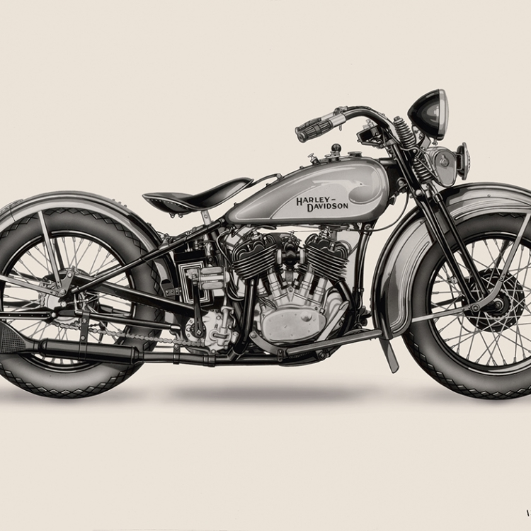 Harley-Davidson VL from 1933 with hand-painted Bird Tank, Photo © Harley-Davidson