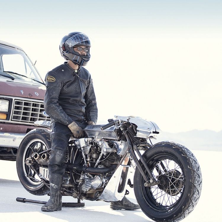 Shinya Kimura on his self-made Harley-Davidson at Salt Flat Racing, Photo © Alexander Babic