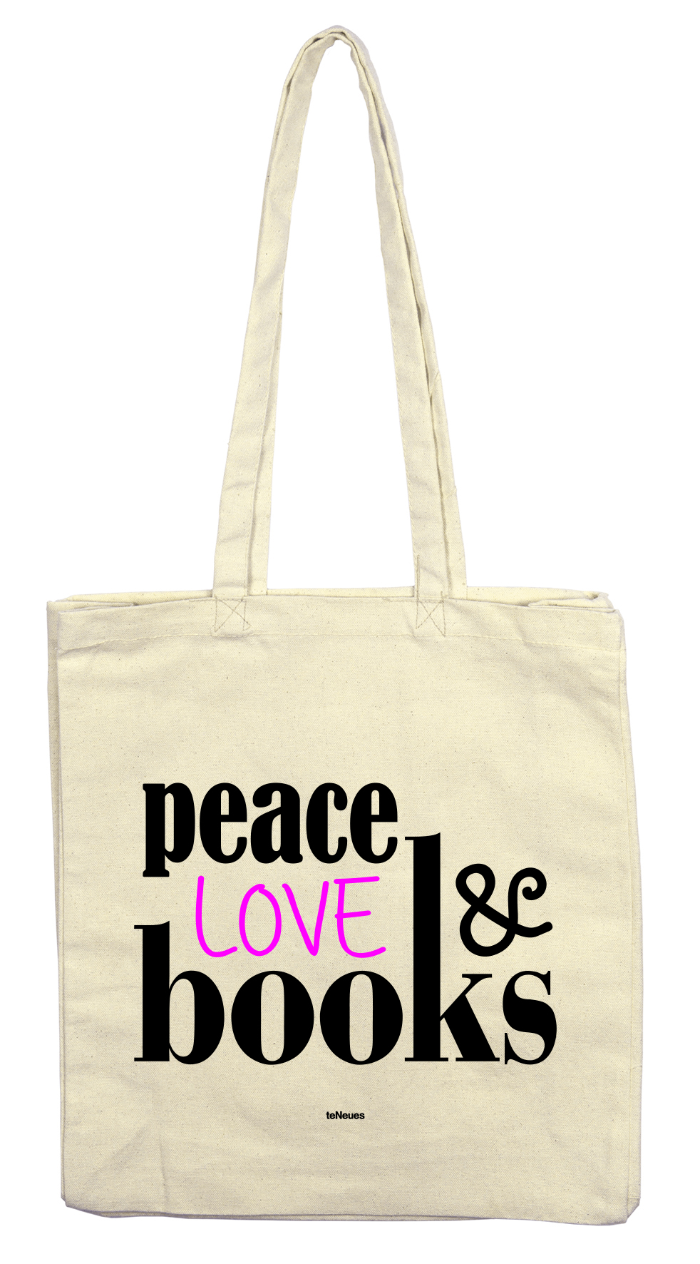 Stofftasche peace love & books