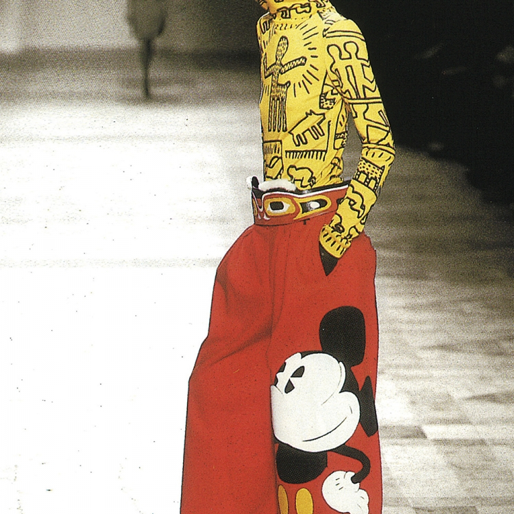 © Jean-Charles de Castelbajac - Fashion, Art & Rock'n'Roll, to be published by teNeues and YellowKorner in September 2016, www.teneues.com, www.yellowkorner.com, Winter 2002-2003 / Keith Haring top and balaclava and Mickey trousers, Electrique Saga collection, Photo © Jean Charles de Castelbajac. All rights reserved.