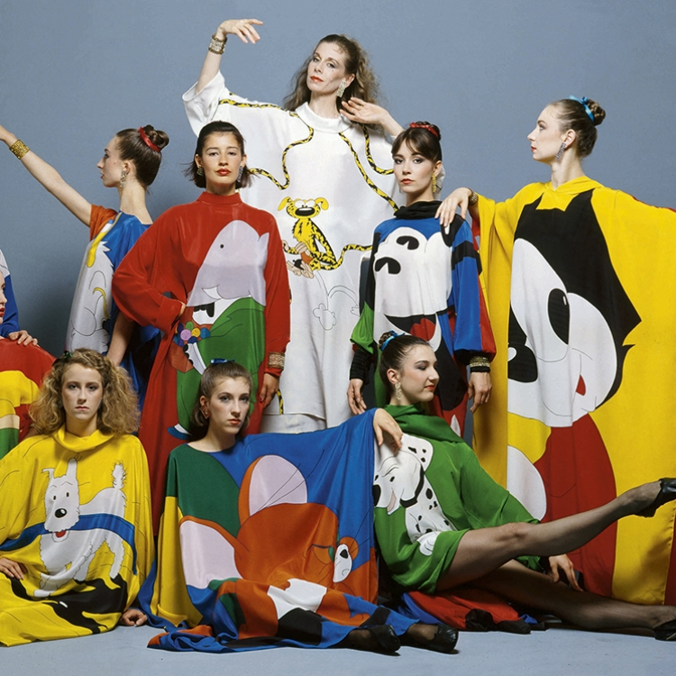 © Jean-Charles de Castelbajac - Fashion, Art & Rock'n'Roll, to be published by teNeues and YellowKorner in September 2016, www.teneues.com, www.yellowkorner.com, Summer 1982 / Tribute to comic strips, dresses painted on silk worn by the Paris Opéra ballet company, Photo © Bettina Rheims