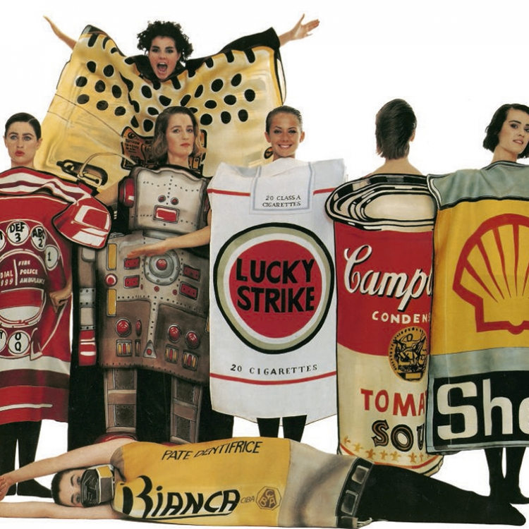 © Jean-Charles de Castelbajac - Fashion, Art & Rock'n'Roll, to be published by teNeues and YellowKorner in September 2016, www.teneues.com, www.yellowkorner.com, Summer 1984 / Homage to the 20th century, Dresses painted on gazar, Photo © Jean Charles de Castelbajac. All rights reserved.