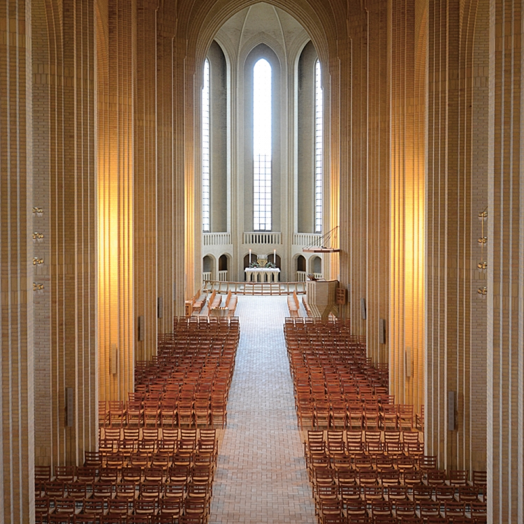 Grundtvig's Church in Copenhagen, Kaare Klint, 1888-1954, © 2017 Republic of Fritz Hansen. All rights reserved. www.fritzhansen.com, Photo © Boo Seedorff