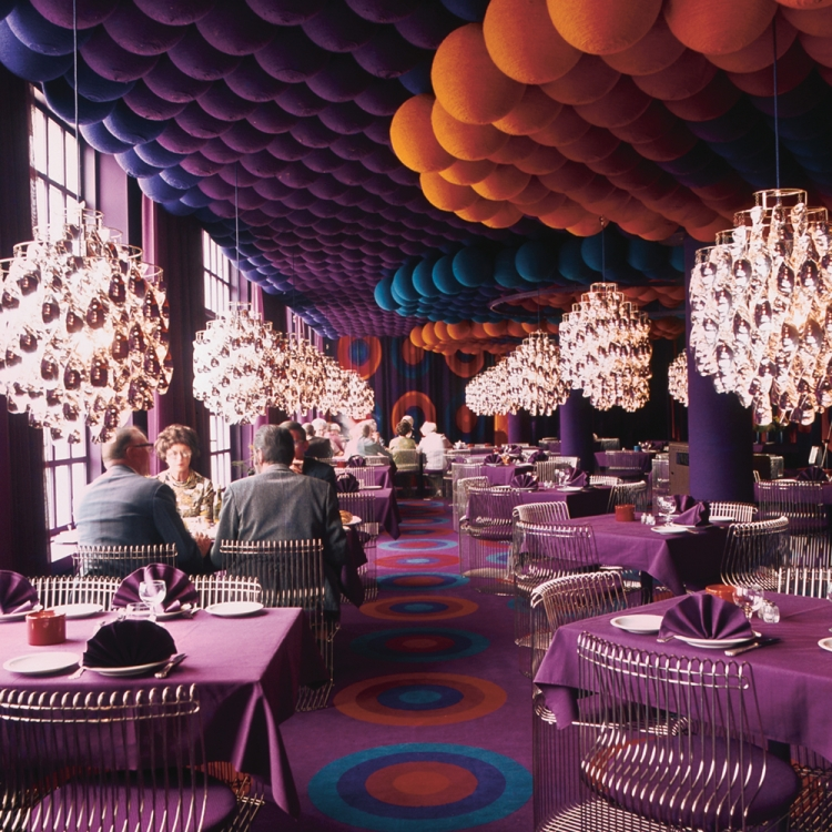 The Varna Restaurant in Aarhus, where Panton created an absolutely remarkable design, Verner Panton, 1926-1998, © 2017 Republic of Fritz Hansen. All rights reserved. www.fritzhansen.com, Photo © Verner Panton Design, www.verner-panton.com