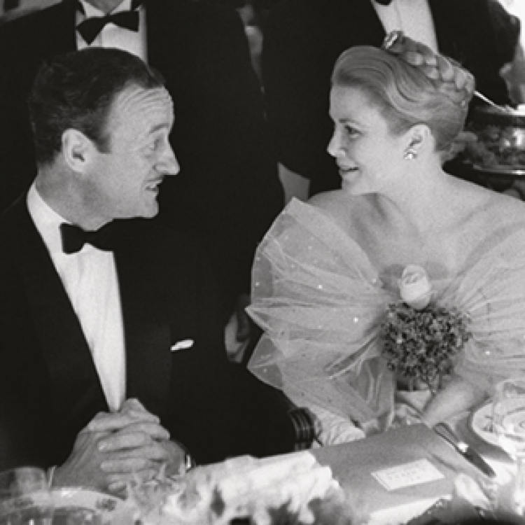David Niven was one of Grace Kelly's old Hollywood friends. Every year Niven and his wife made the journey from America especially to visit her. They were present at Monte Carlo for the Gala Evening Bal à l'Opéra, Monte Carlo 1959 Photo © edwardquinn.com