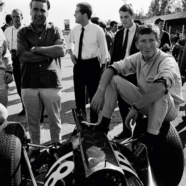 © The Golden Age of Formula 1 by Rainer W. Schlegelmilch, Small Format Edition, to be published by teNeues in February 2017, www.teneues.com 1965 GP Italy (Monza), left to right: Jo Siffert (Brabham), John Cooper, Jochen Rindt (Cooper), Photo © 2017 Rainer W. Schlegelmilch. All rights reserved.