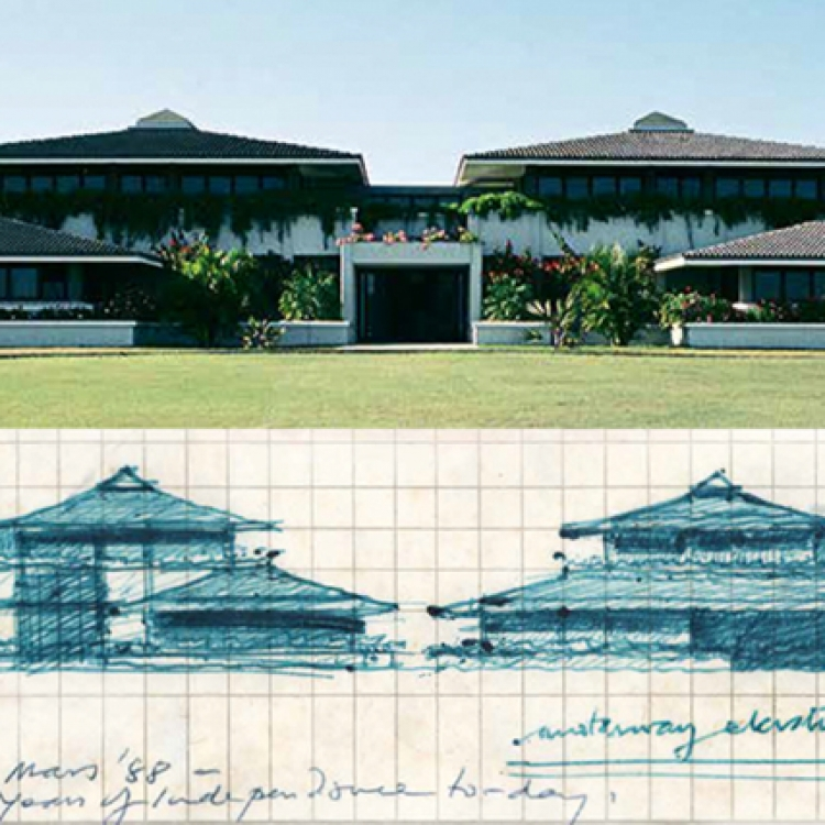 United Basalt Head Office, Trianon, Mauritius, 1988-1990, Photo © Tungsten, Sketch by Jean-Francois Koenig