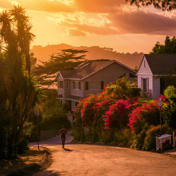 Hollywood Hills houses and someone jogging. I love how nature is greener over there, Photo © 2018 Serge Ramelli. All rights reserved. www.photoserge.com