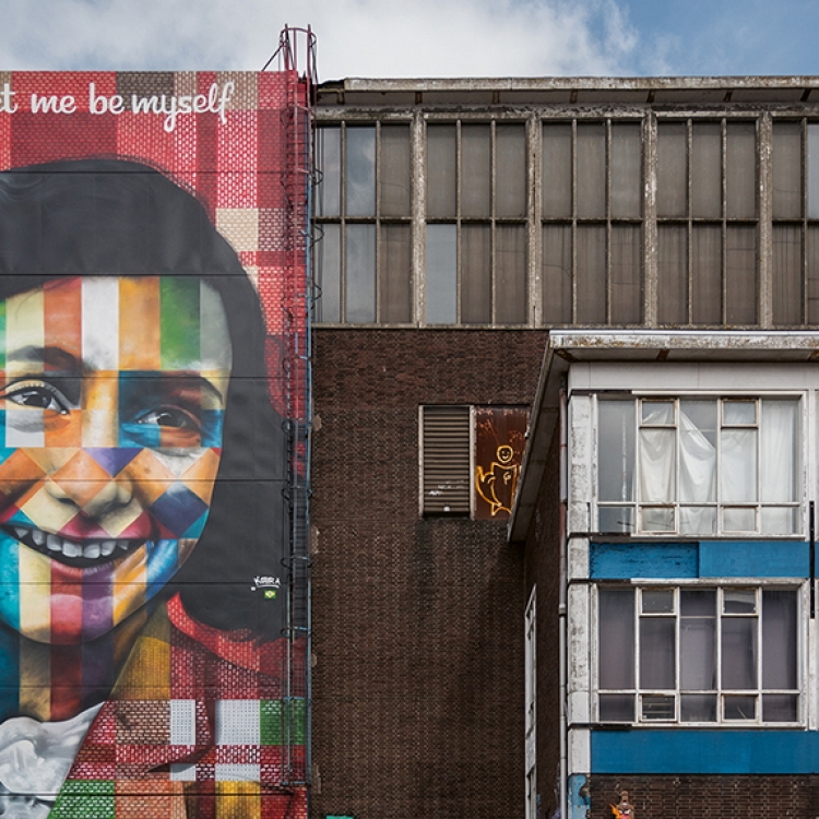 © Streets of Amsterdam by MENDO, to be published by teNeues in September 2018, www.teneues.com, www.mendo.nl, Anne Frank mural by Eduardo Kobra, NDSM Wharf, Photo © Gilbert Murillo