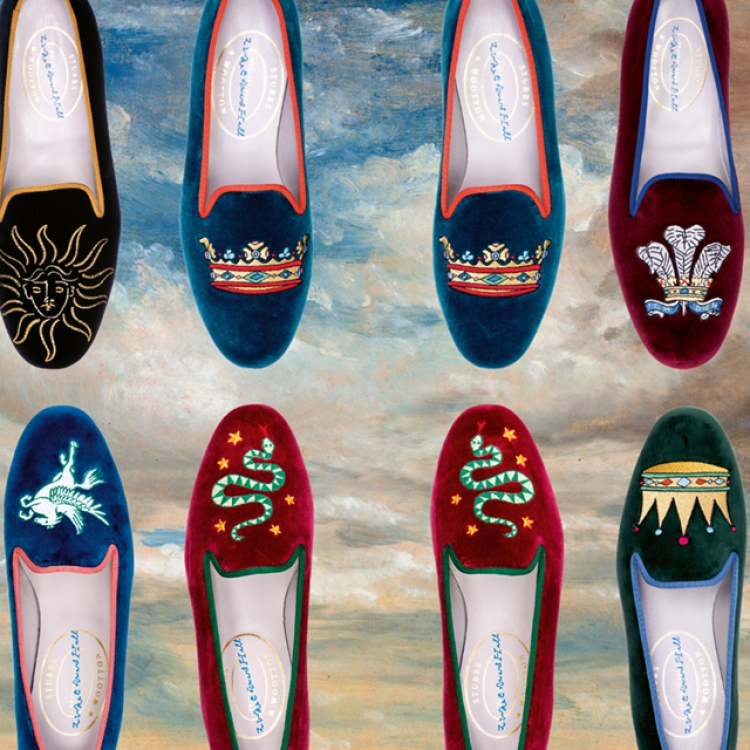 © Greco Disco - The Art and Design of Luke Edward Hall, to be published by teNeues in August 2019, www.teneues.com, Artwork © 2019 Luke Edward Hall. All rights reserved. Photographs of slippers courtesy of Stubbs & Wootton and Clouds (c.1822) by John Constable (painted sky background)