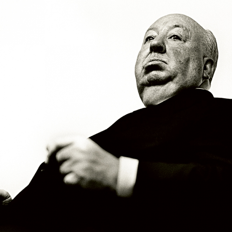 Alfred Hitchcock, 1972, Los Angeles, Photo © Greg Gorman Photography, 2020. www.gormanphotography.com
